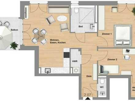 Schlüchtern-SeniorenWohnen: 3 Zimmer-Wohnung mit Balkon im Erstbezug - TYP 79