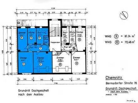Günstige, vollständig renovierte 3-Zimmer-DG-Wohnung zur Miete in Chemnitz