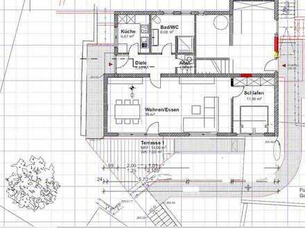 Erstbezug nach Sanierung: schöne 2-Zimmer-Wohnung mit Terrasse in Ortsrandlage in 73630 Remshalden