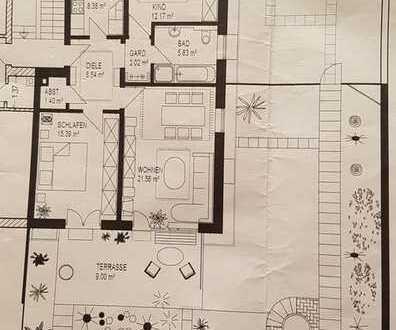 Stilvolle, gepflegte 3-Zimmer-EG-Wohnung mit Terrasse und Einbauküche in Augsburg