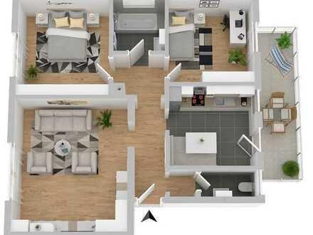 3 Zimmer Wohnung mit Balkon, Gartengrundstück und großzügige Garage