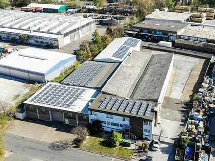 Produktions-/ Lagerhalle mit Kranbahn bis 5 t | Solardach | Trafostation | 2 Wohnungen | Büro