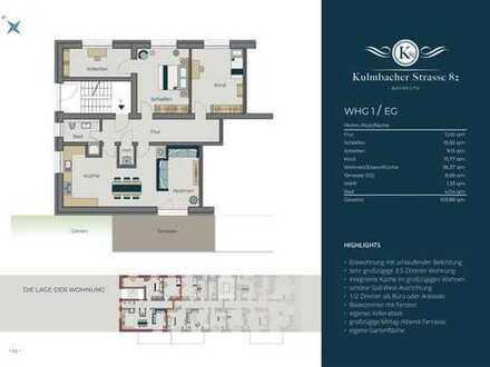 4-Zimmer-EG-Wohnung mit Terrasse/Gartenanteil