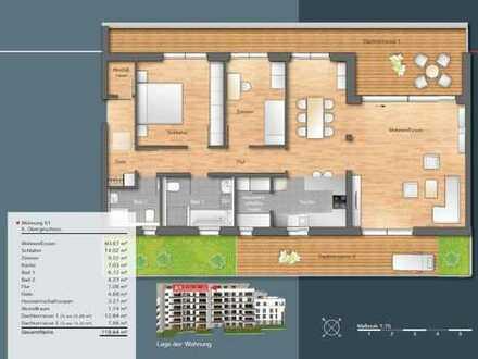 Neuwertige 3,5-Zimmer-Penthouse-Wohnung mit Balkon in Böblingen, möbliert oder unmöbliert.