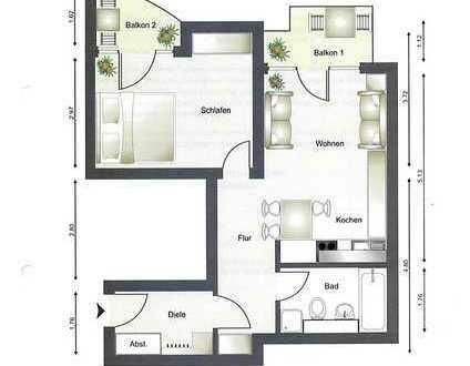 2-Zimmer-Wohnung mit 2 Balkonen und EBK in Pforzheim
