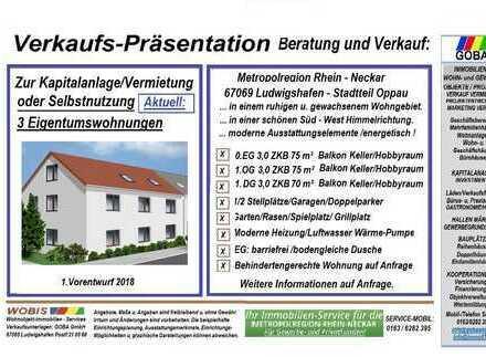 Neubau Oppau 3,0 ZKB 75 m² ETW 0.EG barrierefrei - gewachsenes u. beliebtes Wohngegend