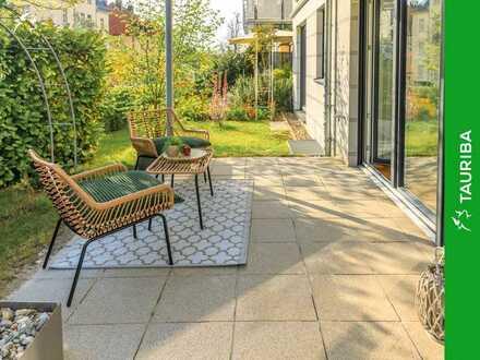 +++Zeitlos und hell gestaltete Wohnung mit Terrasse und eigenem Gartenanteil+++
