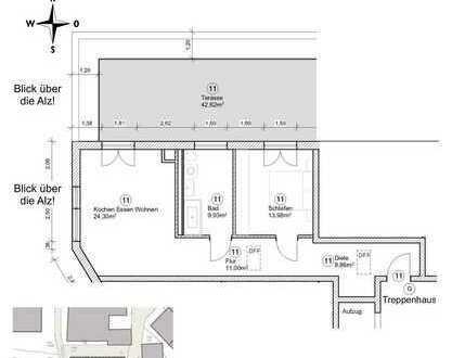 Großzügige 2 Zimmer-Penthousewohnung mit großer Dachterrasse und Alzblick!