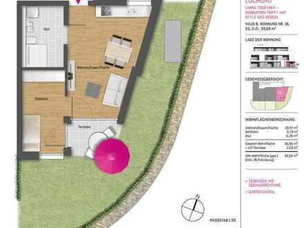 TOP 2-Zimmer-Neubauwohnung mit Terrasse, Gartenanteil und PKW-Stellplatz