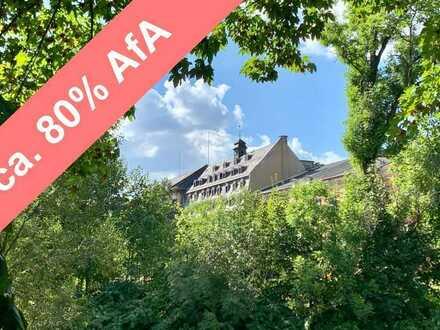Wohnen am Park + Industriedenkmal + hohe staatliche Förderungen + Südbalkon + Aufzug