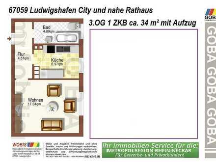 Lu-City 6-2021 o. früher 1,0 ZKB 34 m²- EBK !!!!!- mod. Gestaltung neu renoviert m. separater Küche