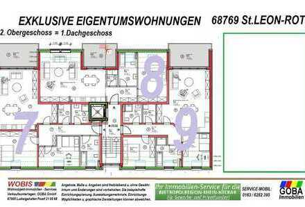 Modern Naturnah nahe SAP - barrierefrei 3,0 ZKB Balkon 91 m² Neubau-ETW KfW55 Effizienz