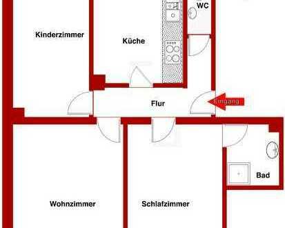 Schöne 3-Zimmer Wohnung mit Balkon / Erstbezug nach Sanierung