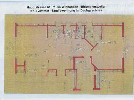 Wi - Birkmannsweiler - schickes, grosses 2,5-Zimmer-Studio im DG mit Loggia und Balkon, ca. 90 m² Wf