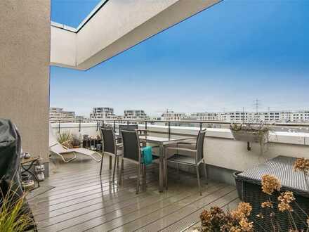 Top-Penthouse-Wohnung direkt am Park mit Blick auf Skyline und Taunus in F-Riedberg (Erbbaurecht)