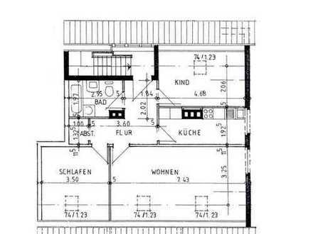 gemütliche 3-Zimmer-Wohnung im Dachgeschoss