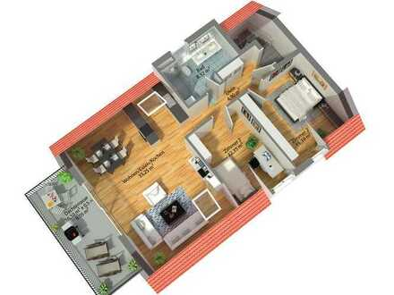 ***NEUBAU KfW 55: Dachgeschoss - helle 3,5 Zimmer Wohnung mit Balkon***