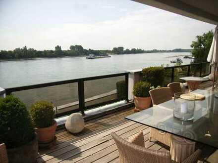 Garten-Atelierwohnung mit Rhein-Panoramablick, großer Sonnenterrasse u. 2 Tiefgaragenplätzen