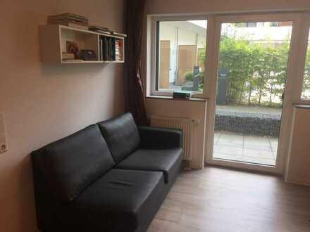 Vollmöbliertes 2-Zimmer Apartment (Suite) mit Terrasse in der Bahnstadt zur Zwischenmiete