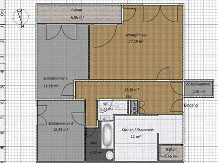 Sanierte 3-Zimmer-Wohnung mit Süd-Balkon in Düsseldorf Süd