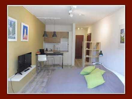 Komplett möbliertes Apartment mit offenem Küchenbereich in gepflegter Wohnanlage.