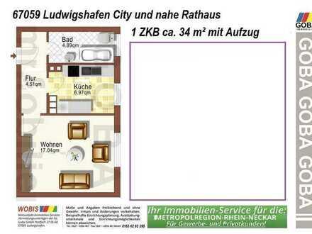 Lu-City 1.10.2020 / sofort 1,0 ZKB 34 m² - ohne EBK - neu renoviert m. separater Küche