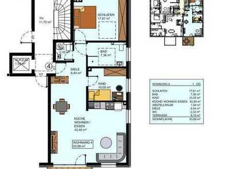 Erstbezug, zentral gelegene, großzügige 3-Zimmer-Wohnung mit Einbauküche, Balkon und Gäste-WC