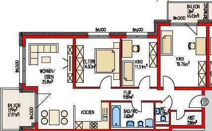 (860) Eigentumswohnung mit 2 Balkonen im 3. Obergeschoss - Neubau -