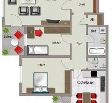 3-Zimmer-Wohnung mit 2 Balkonen und Einbauküche in Untereisesheim