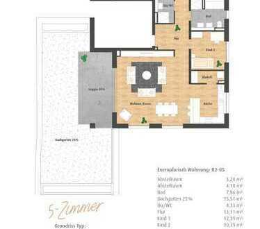 Neubau 5-Zimmer-Penthaus mit Galerie, großer Dachterrasse, Loggia und 2 Bädern