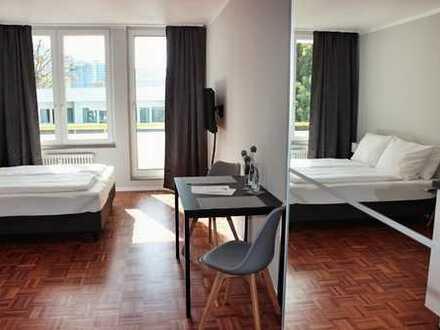 neuwertiges möbliertes 1-Zimmer Apartment, mit Balkon und TG-Stellplatz