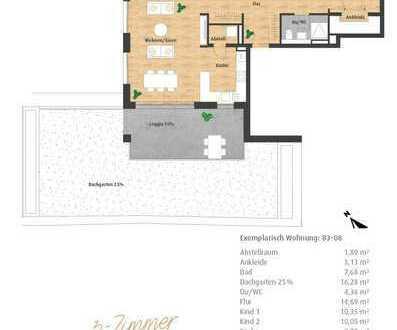 Hatz-Areal - Das Tor zur Innenstadt - Neubau 3-Zimmer-ETW mit Dachgarten und 2 Loggien