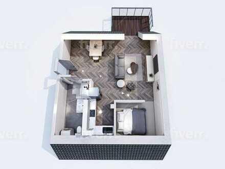sanierte 1-Raum Wohnung im Grünen
