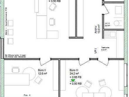 1.OG, 105 m², 3 Zi Büro/Praxis im Neubau! An der B3! Balkon!