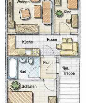Erdgeschoss, Balkon, 3 Zimmer, modernes Bad
