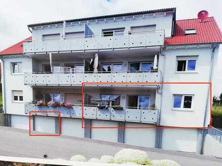 Erstbezug: helle 4-Zimmer-Erdgeschosswohnung mit Einbauküche und Balkon in Lehrberg