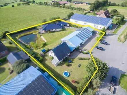 Gewerbehalle + 2 Wohnhäuser +3.725 m² Grundstück + PV-Anlage + Erdwärme