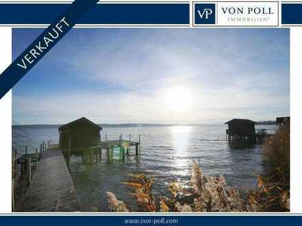 Seeufer-Grundstück Westufer Ammersee mit Bootshaus und Steg