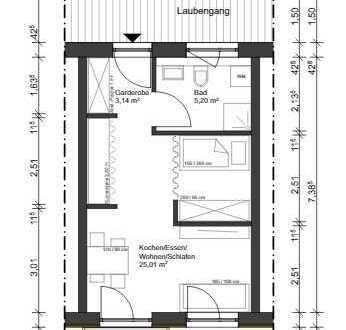 Erstbezug: exklusive 1,5-Zimmer-Wohnung mit Einbauküche und Terrasse/Balkon in Maxhütte-Haidhof