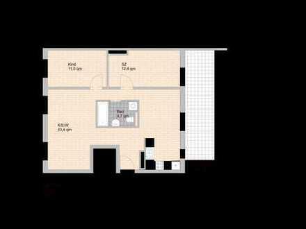 * 3-Zimmer-Dachterrassentraum mit eleganter Küche in perfekter Lage *