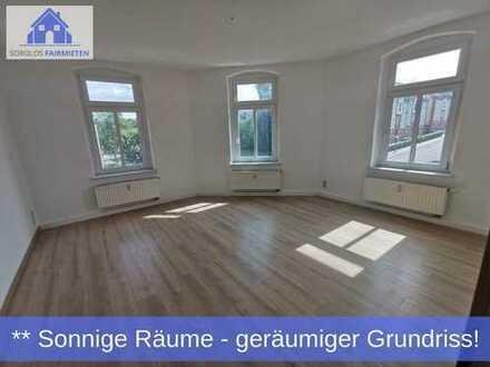 Geräumige 3-Raum Wohnung mit sonniger Raumatmosphäre sehr günstig zu haben! Geschickter Grundriss!