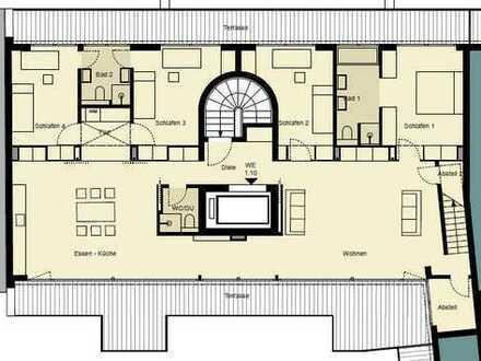 Penthouse mit Dachterrasse, Sofortbezug, Lift, TG mgl, Kamin, Sauna, ...