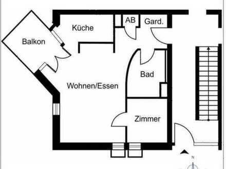 Vollständig renovierte 2-Zimmer-Erdgeschosswohnung mit Balkon am oberen Eselsberg