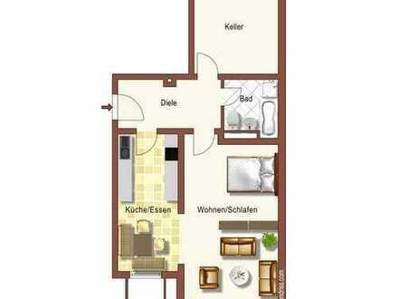 Gepflegte 1 bis 1,5-Zimmer-Wohnung mit Gartenanteil, EBK und Garage in Villingen-Schwenningen