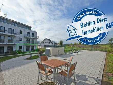 DIETZ: Neubau-2-Zimmer-Terrassenwohnung in toller Feldrandlage von Rödermark-Urberach!