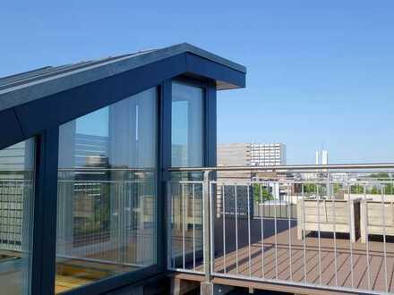 Penthouse-Wohnung mit privater Dachterrasse und 360°-Panoramablick, Eichenparkett, Ankleidezimmer