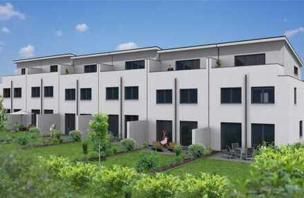 Modernes Reihenendhaus, Neubau als KFW Effizienzhaus 55