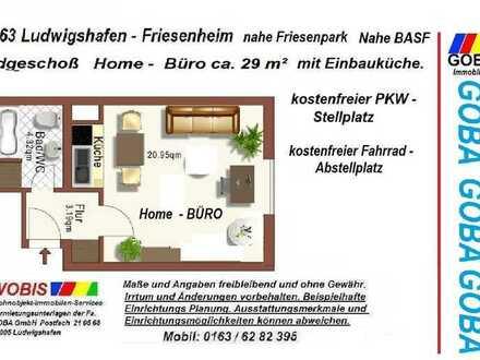 Mini-BÜRO Friesenh. nahe BASF ab 01.07.21 29 m² Arbeitsbereich EBK + PKW-Stellplatz.
