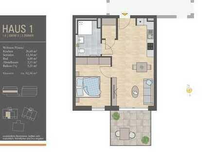Bedarfsgerechte 2-Zimmer-Wohnung für Senioren! - Haus 1, Ebene 3, Whg. 1.8