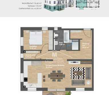 Neubau/Erstbezug: 2-Zimmer-Erdgeschoss-Whg. mit EBK, Garten u. TG-Stellplatz in Top-Lage